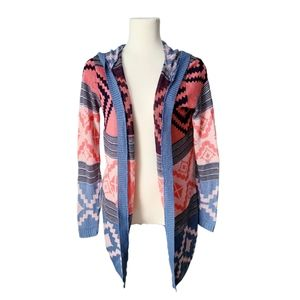 4/$30 Abstract Geometric Open Face Knit Cardigan